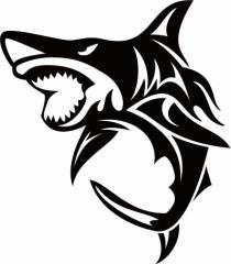 カッティングステッカー 〜 シャーク(shark) サメ(鮫) トライバル ・6(左向き) サイズL 〜 車 バイク カッコイイ デカール カスタム