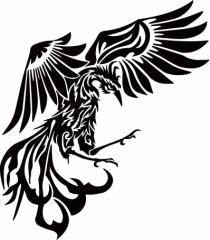カッティングステッカー 車 バイク カッコイイ カスタム 【鳳凰 不死鳥 フェニックス phoenix トライバル (右向き)】【メール便】