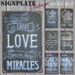 【メール便250円対応】ブリキ看板 cat dog coffee LOVE 20×30cm ビンテージ メタルサインプレート カフェ バー アメリカン TIN SIGN┃