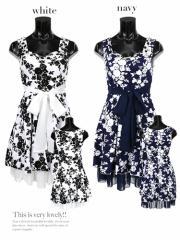【Tika ティカ】フラワーパターンウエストリボンフレアミニドレスワンピースキャバドレス結婚式ドレス[S/M/L][紺/白]