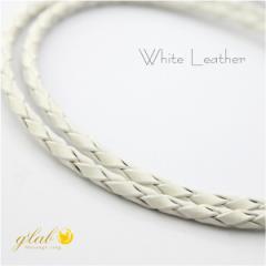 本革レザーチョーカー丸編みホワイト 長さ35cm〜50cm アジャスターAB