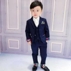 子供スーツ 花柄 配色スーツ 3点セット おしゃれ スーツ セットアップ フォーマルスーツ キッズスーツ 入園式 卒園式