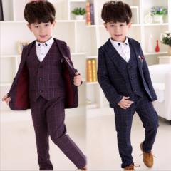 子供スーツ 4点セット  発表会 入学式 七五三  入園式  フォーマルスーツ 男の子スーツ キッズスーツ  チェック柄