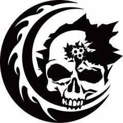 カッティングステッカー 〜 死神 スカル ドクロ トライバル ・4 サイズL 〜 車 バイク ヘルメット カッコイイ ワンポイント カスタム