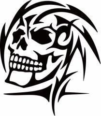 カッティングステッカー 車 バイク オシャレ カッコイイ ワンポイント【死神 スカル ドクロ トライバル ・6(左向き)】【メール便】
