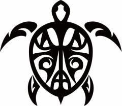 カッティングステッカー 車 オシャレ カワイイ ワンポイント カスタム【カメ(亀) ホヌ(Honu) トライバル ・6 サイズL】【メール便】