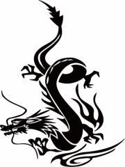 カッティングステッカー 車 バイク オシャレ カッコイイ カスタム 【ドラゴン (龍) トライバル ・6(左向き) サイズL】【メール便】