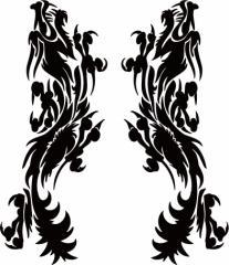 カッティングステッカー 車 バイク オシャレ カッコイイ ワンポイント【ドラゴン 龍 トライバル 2・11(左右1セット)】【メール便】