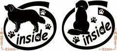 カッティングステッカー 〜 バーニーズ マウンテン ドッグ inside  (横後1セット) 〜 車 バイク 愛犬 カワイイ カスタム (D)