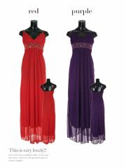 【Tika ティカ】ウエストマークロングドレスパーティードレス結婚式ドレスキャバドレス大きいサイズ[黒Fのみ][紫/赤S/M/L/2L/3L/4L]