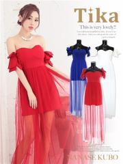 【Tikaティカ】チュールレイヤードロングドレスパーティードレス結婚式ドレス二次会キャバドレス大きいサイズ有[赤/白/青][S/M/L]