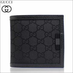 あす着 グッチ GUCCI 財布 二つ折り財布 GGナイロン ブラック アウトレット メンズ 150413-g1xwn-8615