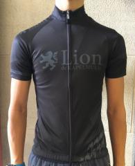 Lion de KAPELMUUR リオン・ド・カペルミュール 半袖ジャージ 千鳥チップ ブラック×グレー  lihs203