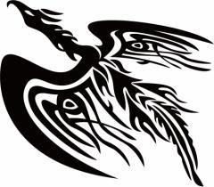 カッティングステッカー 車 バイク カッコイイ 目立つ カスタム【フェニックス(不死鳥) 鳳凰 トライバル ・13(左向き)】【メール便】