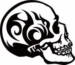 カッティングステッカー 〜 死神 スカル ドクロ トライバル ・9(右向き) サイズL 〜 車 バイク カッコイイ ワンポイント カスタム