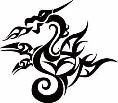 カッティングステッカー 車 バイク オシャレ カッコイイ カスタム カー【ドラゴン 龍 トライバル ・4・9(左向き)】【メール便】