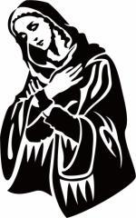 カッティングステッカー 車 バイク カッコイイ ワンポイント カスタム【マリア 聖母 修道女 トライバル ・2(左向き)】【メール便】