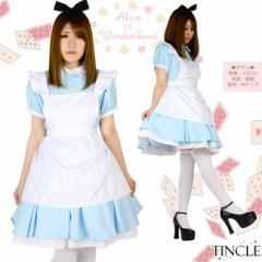 不思議の国 アリス コスチュームセット ワンピース ドレス メイド服 S M Lサイズ 01000670