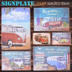 【メール便250円対応】ブリキ看板 ワーゲンバス VW レトロ 20×30cm ビンテージ メタルサインプレート カフェ バー アメリカンTIN SIGN┃