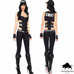 [即納]SWAT ポリス 警官 ハロウィン 仮装 コスプレ 3点セット 悪魔 魔女 海賊 ゾンビ グループ コスチューム SEXY オールインワン