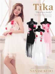 【Tika ティカ】レース×フラワーデザインフィッシュテールチュールドレス結婚式ドレスキャバドレス[M][黒/白/ピンク]