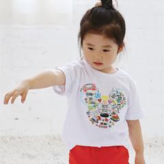 子供服 キッズ 半袖Tシャツ 家族お揃い 親子ペアルック カップルペアルック キャラクター プリント ホワイト