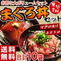 まぐろ マグロ 送料無料 築地の「まぐろ丼セット」 合計10食 鉄火丼5袋・ねぎとろ丼5袋 冷凍