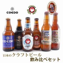 お中元 ギフト 飲み比べ 送料無料 日本のクラフトビールセット コエドビール & 常陸野ネスト & ベアードビール 6本 クール便
