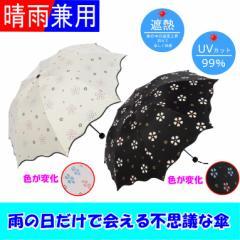 濡れると色が変わる 不思議な傘 折りたたみ日傘  晴雨兼用 オフホワイト ブラック レディース 遮光率99%