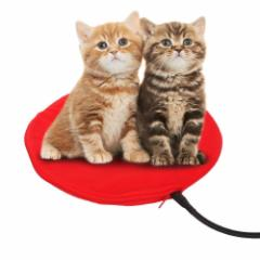 【冬物お買い得品】NoYuo ポカポカ テキオンヒーター 猫 犬専用のホットカーペット カバー 7段温度調節 *丸型レッド