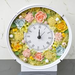 本州送料無料 プリザーブドフラワー 花時計 優しいオレンジ 新築祝い 開店祝い 開業祝い フラワーギフト