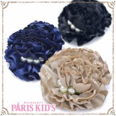 【送料無料】ボリューミー パール フラワー 2way ブローチ ブラック ベージュ ネイビー お花 造花 花 コサージュ 髪飾り 大きめ