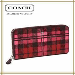 2cac35be26ef COACH コーチ レディース長財布/ラウンドファスナー シャドーチェック柄 ピンク×レッドマルチ F23455