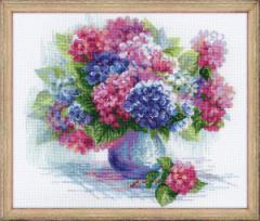 RIOLISクロスステッチ刺繍キット No.1696 「Hydrangea」 (アジサイ 紫陽花) 【取り寄せ/納期1〜2ヶ月】