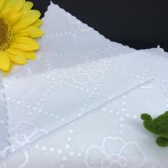 ハンカチタオル 2枚セット コットン 綿100% シャーリング パイル 白 キッズ 園児 定番 OL レディース 送料無料 メール便