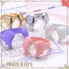 【送料無料】天使 の 羽根 リング 指輪 レディース アクセサリー モチーフ パーツ ホワイト ピンク パープル ゴールド シルバー