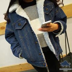 [即納][5サイズ]ボア付き ボアデニム デニムジャケット デニム アウター ゆったり 大きいサイズ ジャケット Gジャン コート ジージャン