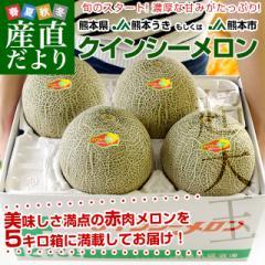 熊本県産 JA熊本うき又はJA熊本市 クインシーメロン 大玉 4Lから3L 5キロ箱 (大玉 3玉から4玉) 送料無料 市場スポット 産直だより