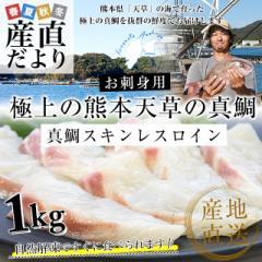 熊本県 天草から 産地直送品!極上の熊本天草の真鯛「真鯛スキンレスロイン」約500g(2枚入り)