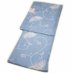 着物 洗える仕立て上がり小紋(袷:ブルー系:菊柄:L寸)日本製生地