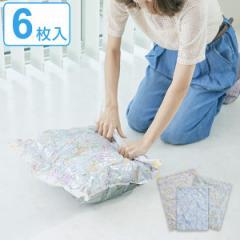 圧縮袋 衣類 ボタニカル 6枚セット M×2 L×2 LL×2 衣類袋 ( 衣類用収納 収納 旅行袋 6枚入り 収納袋 押すだけ 日本製 出張 クローゼッ