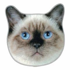 ハンドタオル リアルモチーフタオル しゃむ猫 ハンカチ 猫 ネコ ( タオル シャム猫 フェイス リアル モチーフタオル ハンカチタオル 本