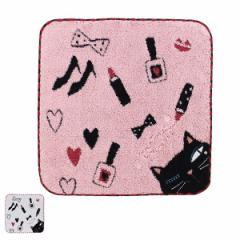 ハンカチタオル シャレ猫 タオルハンカチ ( ハンカチ タオル 猫 ねこ 黒猫 猫柄 コスメ 綿 綿100% 23×23cm 刺繍 ハンドタオル )