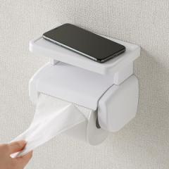 トイレットペーパーホルダー シングル 棚付き トイレットペーパー トイレ ホルダー ( ペーパーホルダー コアレス対応 スマホ置き ペーパ