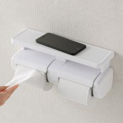 トイレットペーパーホルダー ダブル 棚付き トイレットペーパー 2連 ホルダー ( ペーパーホルダー コアレス対応 スマホ置き トイレ ペー