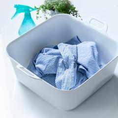 洗濯用たらい 15L Arao! 洗い桶 タライ ( たらい バケツ バスケット 四角 持ち手付き つけ置き 予洗い 洗濯物 服 靴 シューズ スニーカ