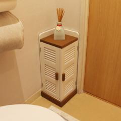 コーナーラック ルーバー トイレ収納 トイレコーナーラック ロータイプ ( トイレ 収納ラック 棚 サニタリーラック ペーパー収納 トイレ