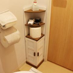 コーナーラック ルーバー トイレ収納 トイレコーナーラック ハイタイプ ( トイレ 収納ラック 棚 サニタリーラック ペーパー収納 トイレ