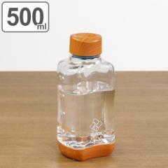 水筒 直飲み プラスチック ブロックスタイル アクアボトル 500ml ウッド調 ( 目盛り付き プラスチックボトル ボトル クリアボトル ダイ