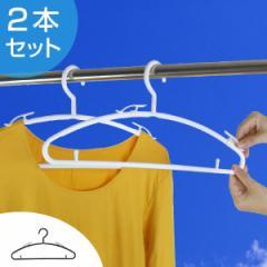 洗濯ハンガー カットソーハンガー 2本組 ( ハンガー 衣類ハンガー 衣類収納 洋服ハンガー クリップ クリップ付き フック )